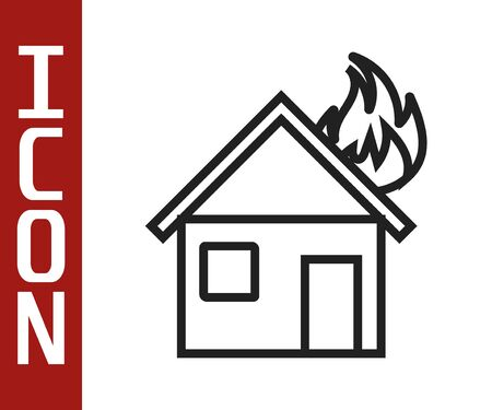 Black line Fire in burning house icon isolated on white background. Vector Illustration
