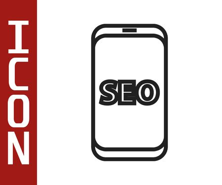 Black line Mobile phone SEO optimization concept icon isolated on white background. Vector Illustration