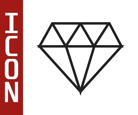 Black line Diamond icon isolated on white background. Jewelry symbol. Gem stone. Vector Illustration 向量圖像