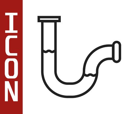 Black line Industry metallic pipe icon isolated on white background. Plumbing pipeline parts of different shapes. Vector Illustration