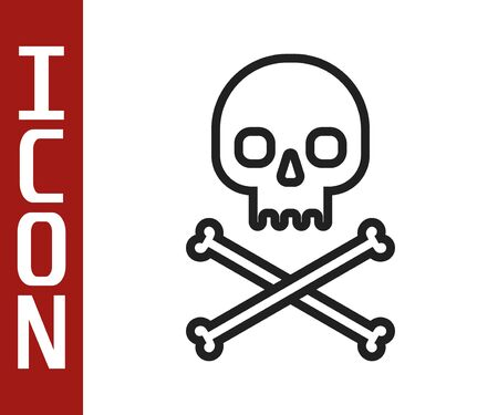 Black line Skull on crossbones icon isolated on white background. Vector Illustration