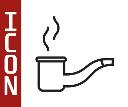 Black line Smoking pipe with smoke icon isolated on white background. Tobacco pipe. Vector Illustration