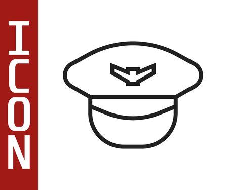 Black line Pilot hat icon isolated on white background. Vector Illustration