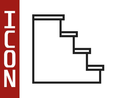 Black line Staircase icon isolated on white background. Vector Illustration