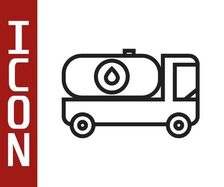 Black line Fuel tanker truck icon isolated on white background. Gasoline tanker. Vector Illustration Stock Illustratie
