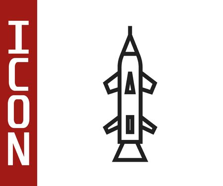 Black line Rocket icon isolated on white background. Vector Illustration