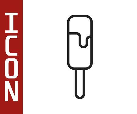 Black line Ice cream icon isolated on white background. Sweet symbol. Vector Illustration Illustration
