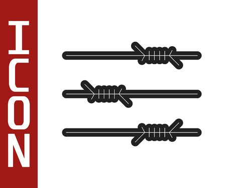 Black line Barbed wire icon isolated on white background. Vector Illustration