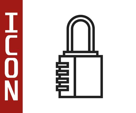 Black line Safe combination lock icon isolated on white background. Combination padlock. Security, safety, protection, password, privacy. Vector Illustration