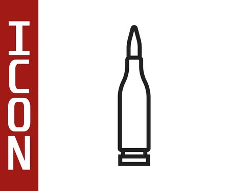 Black line Bullet icon isolated on white background. Vector Illustration Vettoriali