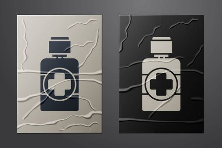 White Bottle of medicine syrup icon isolated on crumpled paper background. Paper art style. Vector Illustration 일러스트