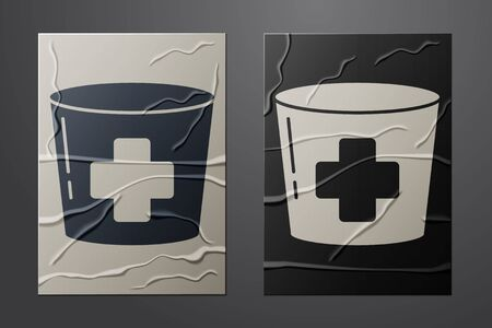 White Nurse hat with cross icon isolated on crumpled paper background. Medical nurse cap sign. Paper art style. Vector Illustration