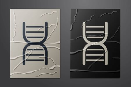 White DNA symbol icon isolated on crumpled paper background. Paper art style. Vector Illustration Ilustrace