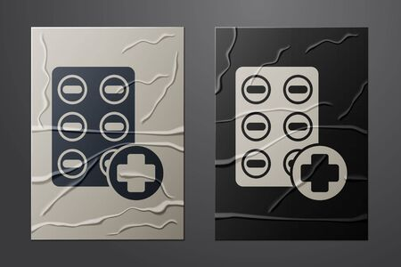 White Pills in blister pack icon isolated on crumpled paper background. Medical drug package for tablet, vitamin, antibiotic, aspirin. Paper art style. Vector Illustration