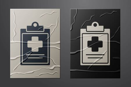 White Medical clipboard with clinical record icon isolated on crumpled paper background. Health insurance form. Prescription, medical check marks report. Paper art style. Vector Illustration