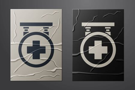 White Hospital signboard icon isolated on crumpled paper background. Paper art style. Vector Illustration