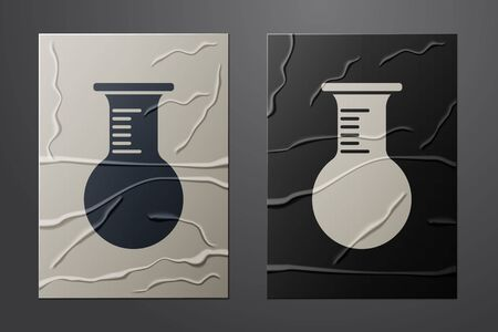 White Test tube and flask icon isolated on crumpled paper background. Chemical laboratory test. Laboratory glassware. Paper art style. Vector Illustration