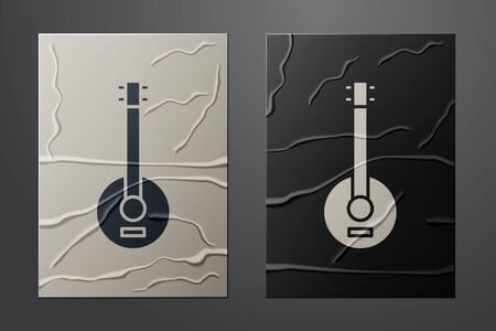 White Banjo icon isolated on crumpled paper background. Musical instrument. Paper art style. Vector Illustration 向量圖像