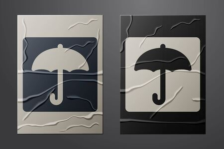 White Umbrella icon isolated on crumpled paper background. Waterproof icon. Protection, safety, security concept. Water resistant symbol. Paper art style. Vector Illustration 일러스트