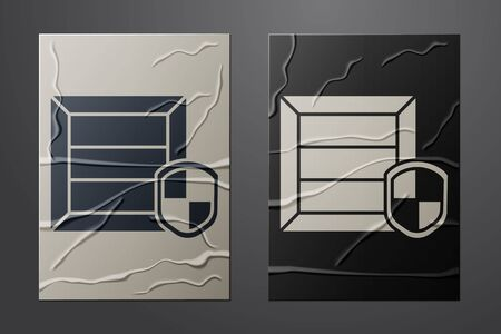 White Delivery pack security with shield icon isolated on crumpled paper background. Delivery insurance. Insured cardboard boxes beyond the shield. Paper art style. Vector Illustration Vectores