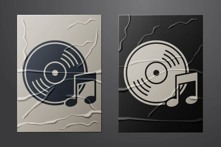 White Vinyl disk icon isolated on crumpled paper background. Paper art style. Vector Illustration