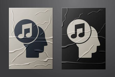 White Musical note in human head icon isolated on crumpled paper background. Paper art style. Vector Illustration Vettoriali