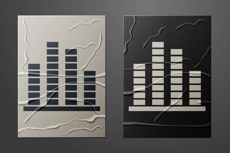 White Music equalizer icon isolated on crumpled paper background. Sound wave. Audio digital equalizer technology, console panel, pulse musical. Paper art style. Vector Illustration Stock Illustratie