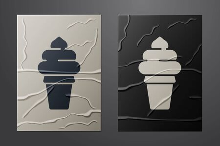 White Ice cream in waffle cone icon isolated on crumpled paper background. Sweet symbol. Paper art style. Vector Illustration Illustration
