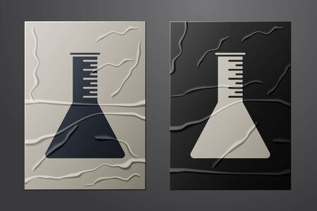 White Oil petrol test tube icon isolated on crumpled paper background. Paper art style. Vector Illustration