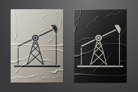 White Oil pump or pump jack icon isolated on crumpled paper background. Oil rig. Paper art style. Vector Illustration Vetores