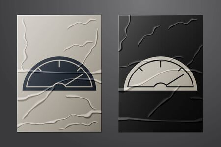White Speedometer icon isolated on crumpled paper background. Paper art style. Vector Illustration Illustration