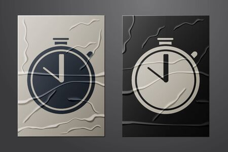 White Stopwatch icon isolated on crumpled paper background. Time timer sign. Chronometer sign. Paper art style. Vector Illustration