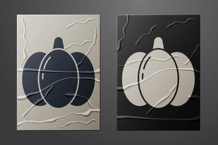 White Pumpkin icon isolated on crumpled paper background. Happy Halloween party. Paper art style. Vector Illustration
