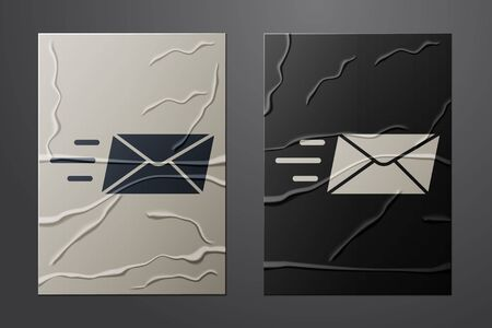 White Express envelope icon isolated on crumpled paper background. Email message letter symbol. Paper art style. Vector Illustration
