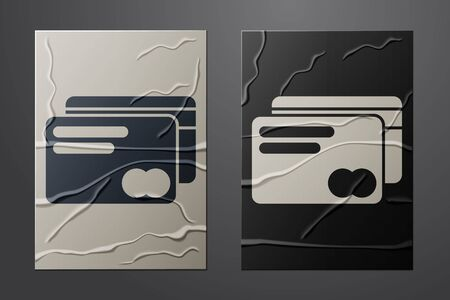 White Credit card icon isolated on crumpled paper background. Online payment. Cash withdrawal. Financial operations. Shopping sign. Paper art style. Vector Illustration Çizim