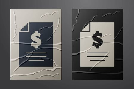 White Contract money icon isolated on crumpled paper background. Banking document dollar file finance money page. Paper art style. Vector Illustration Vettoriali