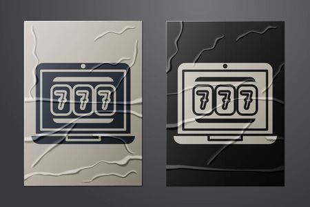 White Laptop and slot machine with lucky sevens jackpot icon isolated on crumpled paper background. Online casino. Paper art style. Vector Illustration Illustration
