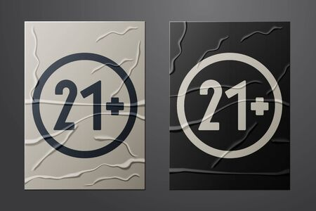 White 21 plus icon isolated on crumpled paper background. Adults content icon. Paper art style. Vector Illustration