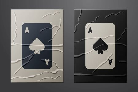 White Playing card with spades symbol icon isolated on crumpled paper background. Casino gambling. Paper art style. Vector Illustration