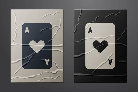 White Playing card with heart symbol icon isolated on crumpled paper background. Casino gambling. Paper art style. Vector Illustration Ilustracja