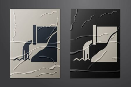 White Wastewater icon isolated on crumpled paper background. Sewer pipe. From the pipe flowing liquid into the river. Paper art style. Vector Illustration