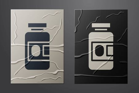 White Medicine bottle and pills icon isolated on crumpled paper background. Bottle pill sign. Pharmacy design. Paper art style. Vector Illustration