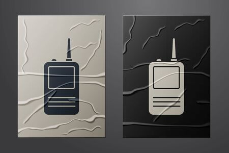 White Walkie talkie icon isolated on crumpled paper background. Portable radio transmitter icon. Radio transceiver sign. Paper art style. Vector Illustration Ilustração