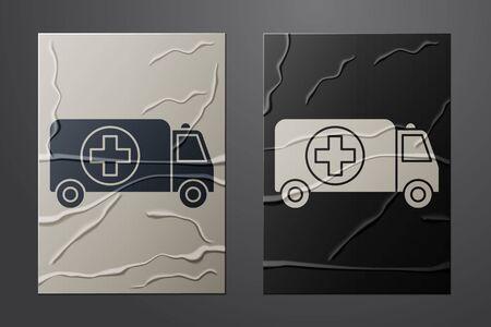 White Ambulance and emergency car icon isolated on crumpled paper background. Ambulance vehicle medical evacuation. Paper art style. Vector Illustration