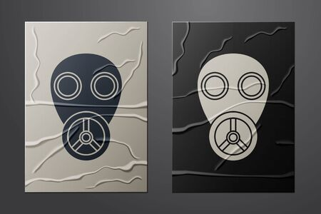 White Gas mask icon isolated on crumpled paper background. Respirator sign. Paper art style. Vector Illustration Ilustração