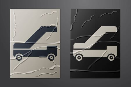 White Passenger ladder for plane boarding icon isolated on crumpled paper background. Airport stair travel. Paper art style. Vector Illustration