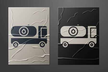 White Fuel tanker truck icon isolated on crumpled paper background. Gasoline tanker. Paper art style. Vector Illustration