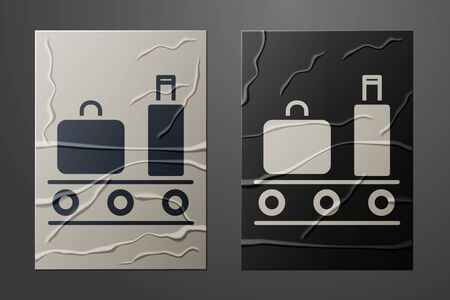 White Airport conveyor belt with passenger luggage, suitcase, bag, baggage icon isolated on crumpled paper background. Paper art style. Vector Illustration