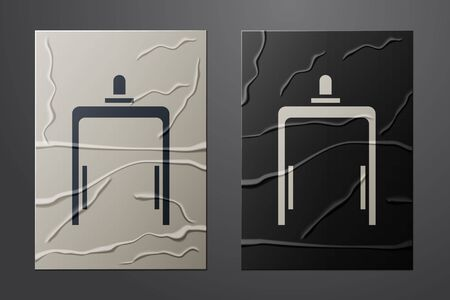 White Metal detector in airport icon isolated on crumpled paper background. Airport security guard on metal detector check point. Paper art style. Vector Illustration