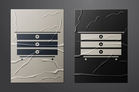 White Chest of drawers icon isolated on crumpled paper background. Paper art style. Vector Illustration Illusztráció